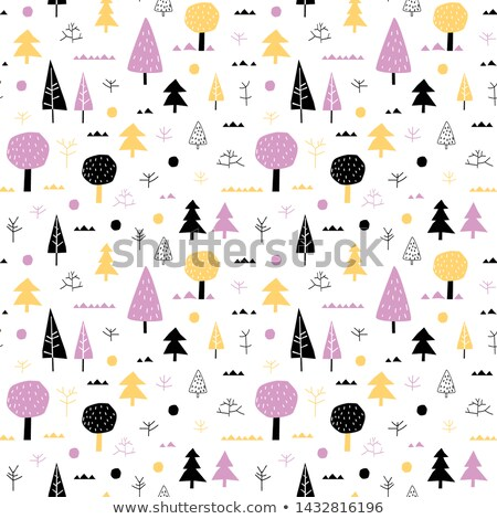 Forest Vector Seamless Pattern With Trees In Yellow Violet And Black Colors On White Background Stockfoto © Pravokrugulnik