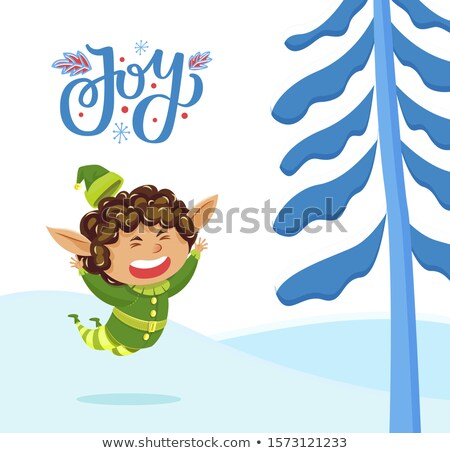 Holiday Joy Caption, Elf Playing in Winter Forest Stock photo © robuart