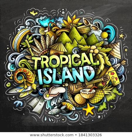 Tropicales paradis dessinés à la main cartoon illustration Photo stock © balabolka