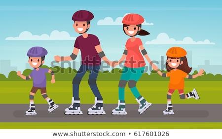 Tinédzser sisak korcsolya korcsolyázás fiú citromsárga Stock fotó © robuart