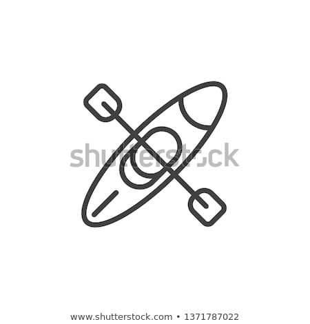 Boat With Oars Icon Vector Outline Illustration Stock photo © pikepicture