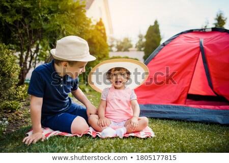счастливым девочек играет дети палатки домой Сток-фото © dolgachov