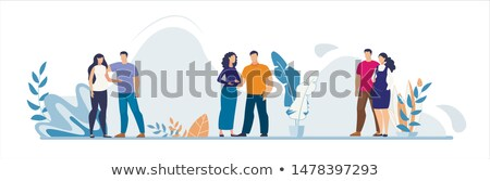 Young couple portrait waiting for baby. Pregnant woman. Vector illustration Stock photo © Imaagio