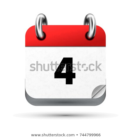 Bright realistic icon of calendar with 4 june date isolated on white Stock photo © evgeny89