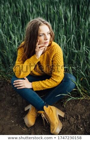 Mooi meisje jeans Geel trui laarzen vroeg Stockfoto © ruslanshramko