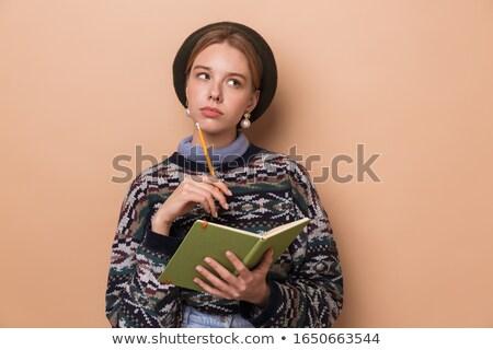 Fotoğraf güzel düşünme kadın notlar Stok fotoğraf © deandrobot