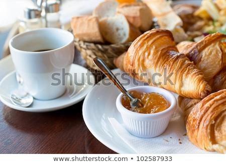 ontbijt · koffie · croissants · foto · gezonde · sinaasappelsap - stockfoto © rastudio