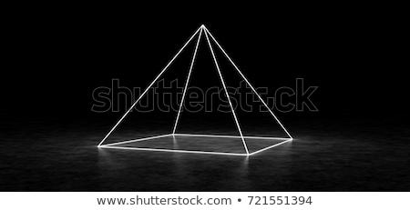 Fekete 3D piramisok ciánkék építkezés fém Stock fotó © FransysMaslo