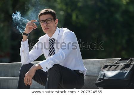 üzletember · dohányzás · irodai · munka · számítógép · iroda · telefon - stock fotó © paha_l