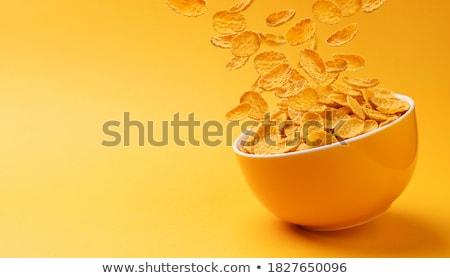 Cornflakes kom cornflakes voedsel achtergrond witte Stockfoto © leeser