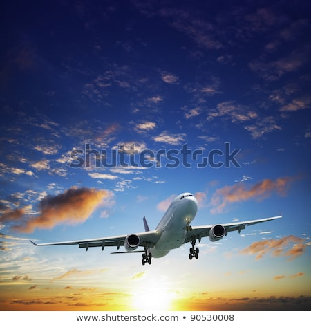 jet airplane in a sky at sunset time square composition stock photo © moses