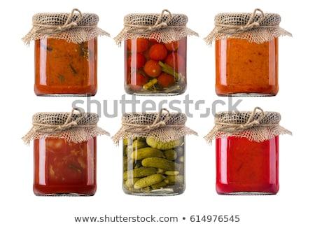 Jar augurken geïsoleerd witte voedsel groene Stockfoto © AGorohov