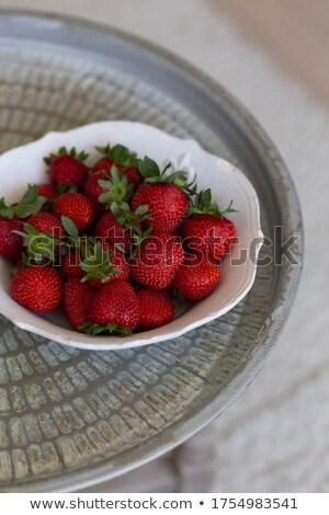 Stok fotoğraf: Fresh Strawberries Are In Round Metal Bowl