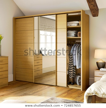 modern wooden wardrobe on a white Stock photo © ozaiachin