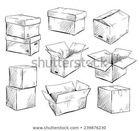 Boîte croquis peint cube blanche Photo stock © kash76