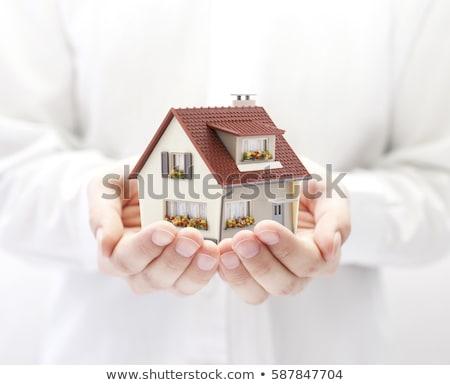 Handen huis onroerend vrouwelijke klein home Stockfoto © fantazista