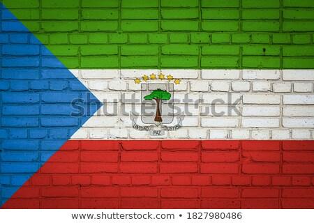 Foto stock: Bandeira · Guiné · parede · de · tijolos · pintado · grunge · textura
