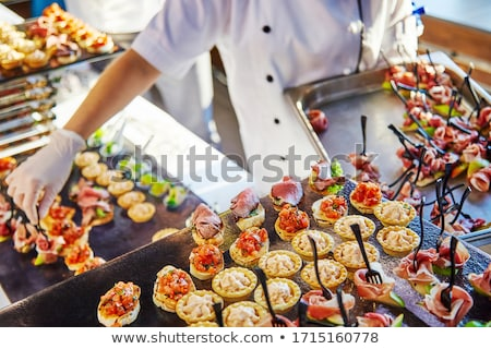 Catering banquete metálico refeição servido Foto stock © samsem