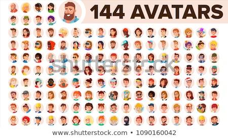 Szett férfi csoport arcok hasznos tárgy Stock fotó © pcanzo