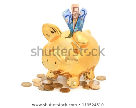 european bank notes and golden piggybank stock photo © pterwort