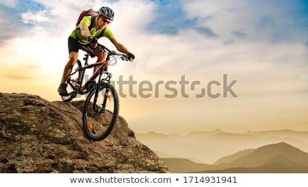 Stok fotoğraf: Motosiklet · iki · kırmızı · sarı · yol · gün · batımı