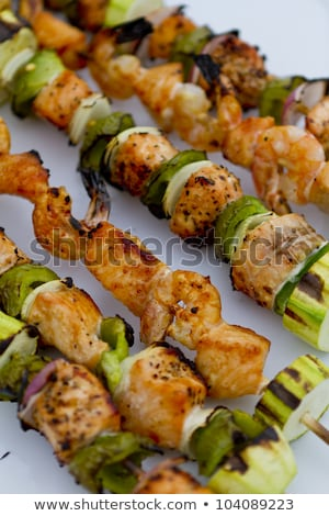 Salmon and Shrimp Skwers Prepped for BBQ Stock photo © ozgur