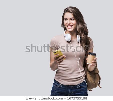 fiatal · nő · iszik · kávé · felfelé · néz · fehér · nő - stock fotó © wavebreak_media