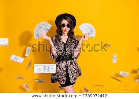 szczęśliwy · młoda · kobieta · całując · dolarów · Dolar - zdjęcia stock © wavebreak_media