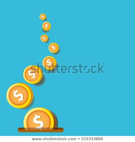 Stock fotó: Flying Coins Falling In Bag