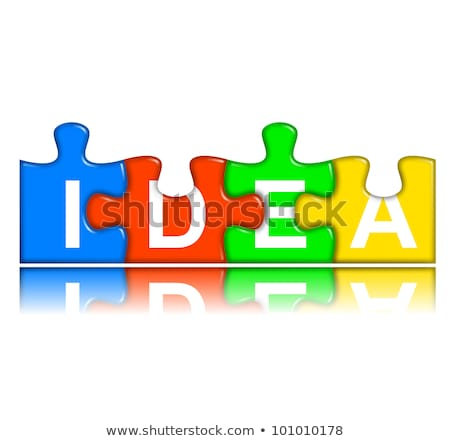 Combined multi-color puzzle with reflection - idea concept stock photo © make