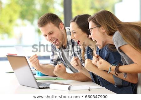 escola · secundária · estudantes · grupo · animado · trabalhando · classe - foto stock © HASLOO