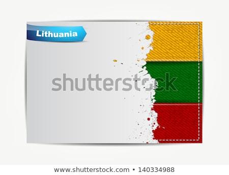 Stitched Lithuania flag with grunge paper frame for your text.  Stock photo © maxmitzu