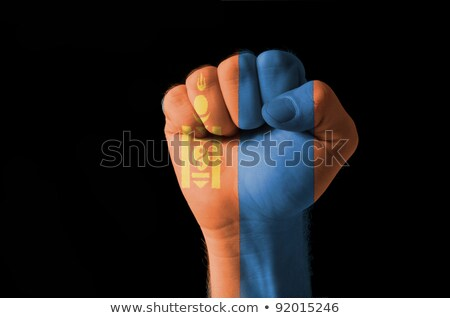 Fist Painted In Colors Of Mongolia Flag Foto stock © vepar5