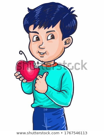 young child eating red apple stock photo © gewoldi