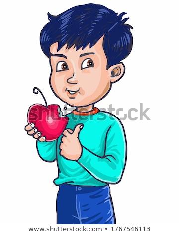 Jonge kind eten rode appel horizontaal Stockfoto © gewoldi