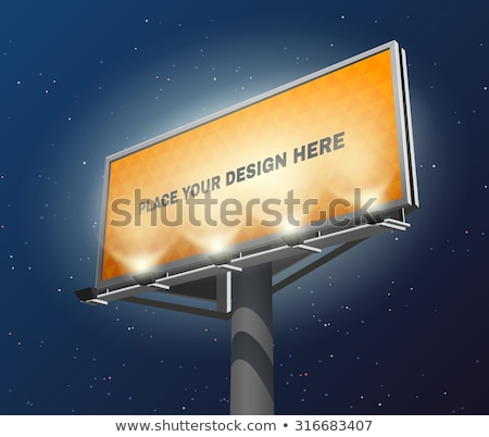 souriant · permanent · derrière · bord · pointant - photo stock © stockyimages