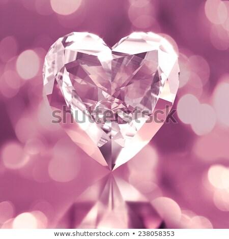 Rózsaszín gyémánt szív gyönyörű absztrakt szeretet Stock fotó © BasheeraDesigns