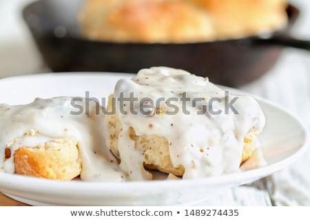 Biscuits organisch granen witte plaat voedsel Stockfoto © MamaMia