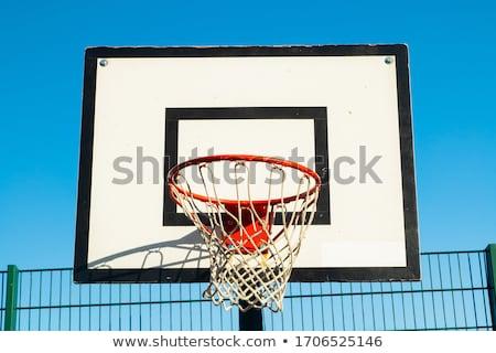 Basketbol tahta mavi gökyüzü gökyüzü mavi siyah Stok fotoğraf © artlens