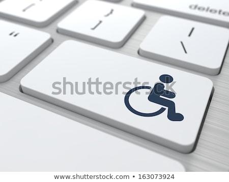 Onbekwaamheid toetsenbord knop woorden gehandicapten icon Stockfoto © tashatuvango