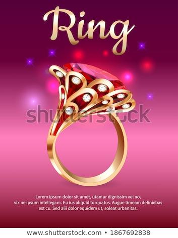 Peça jóias vermelho rubi anel ilustração Foto stock © yurkina