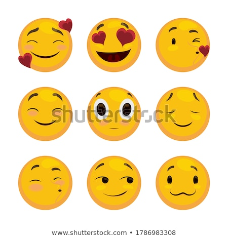 Heart Faces Happy Emoticons - Smirk Stock photo © nazlisart