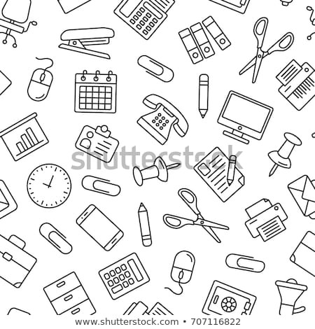 Seamless background with office stationery icons Stock photo © elenapro