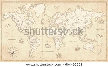 Vecchia mappa africa texture mondo sfondo terra Foto d'archivio © anbuch
