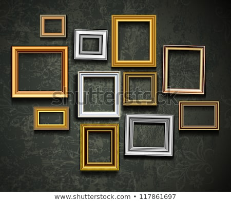 Gallery interior Design With Golden Blank Carved Frame Stock photo © vizarch
