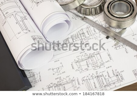 Scrolls engineering drawings and laptop Stock photo © cherezoff