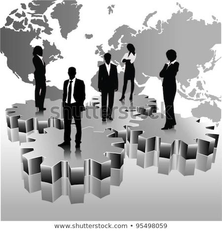 pessoas · de · negócios · equipe · em · pé · 3D · engrenagens · globo - foto stock © designers