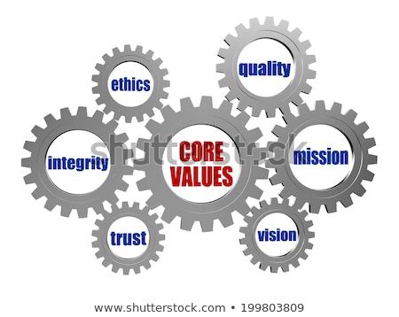 Stockfoto: Kern · waarden · zilver · grijs · versnellingen · woorden