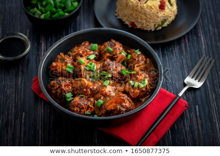 Vlees rijst vegetarisch eten geïsoleerd witte Stockfoto © jonnysek