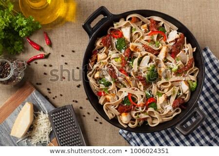 тальятелле растительное куриные перец спагетти еды Сток-фото © M-studio